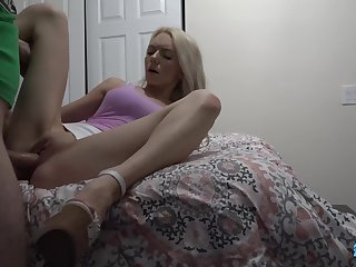 Dude is spying on stepsister and fucking her mouth and pussy