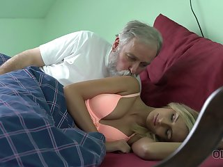Tanned fresh owner of natural tits Jenny Smart works on stiff stout-hearted old cock