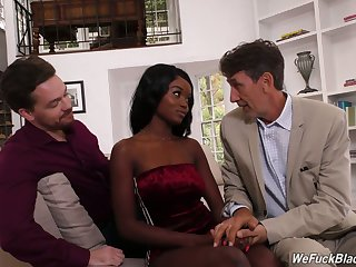 Petite ebony chick Kandie Monaee is fucked hard by two white fellows