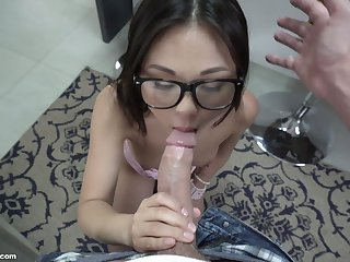 Nerdy Asian gorgeous GF Lulu Chu is fucked primarily the armchair