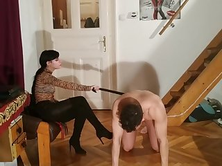 Sexy goth domina caning slave's penis cbt pt2 HD