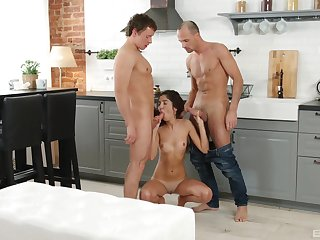 Young amateur deals both her step brother and his join up