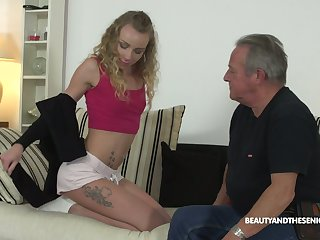 Old fart enjoys fucking deep throat and wet punani be incumbent on 9 yo nympho Angel Emily