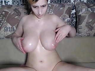 Young big natural oiled titties bounced