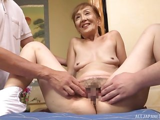 A astonishing trio Japanese play with a sexy granny