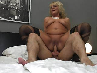 Granny seems ready to jizz her saggy special with cum