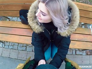 Naughty Russian teen Eva Elfie gives a blowjob in public be required of resource
