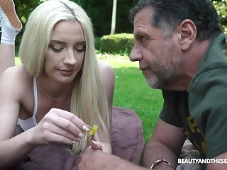 Old guy fucks and cums on the face of adorable blonde Angela Vidal