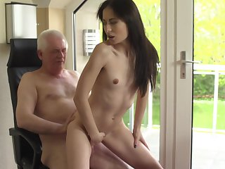 Senior citizen dicks flat-chested brunette youngster Roxy Sky